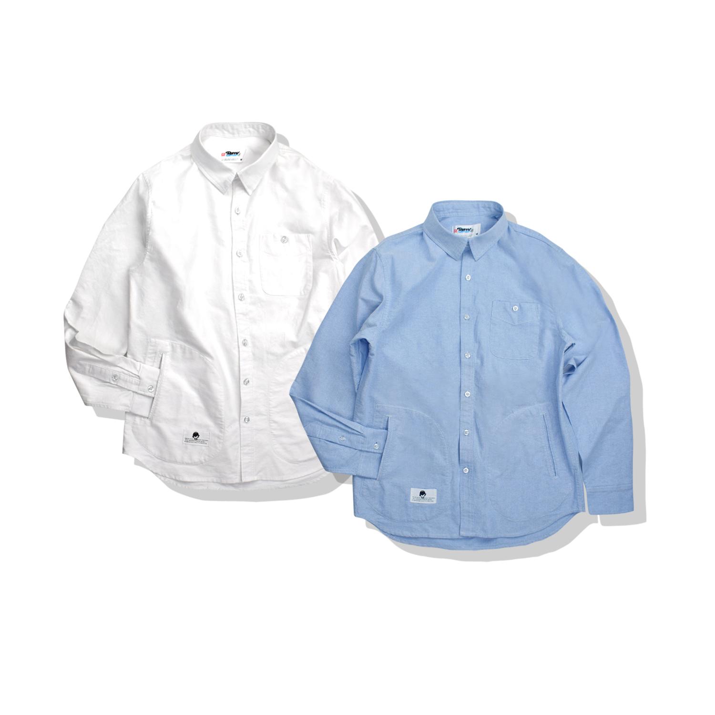 男士纯棉衬衫 aceoa 原创潮牌多口袋纯棉牛津纺水洗长袖衬衫纯色男_推荐淘宝好看的男纯棉衬衫