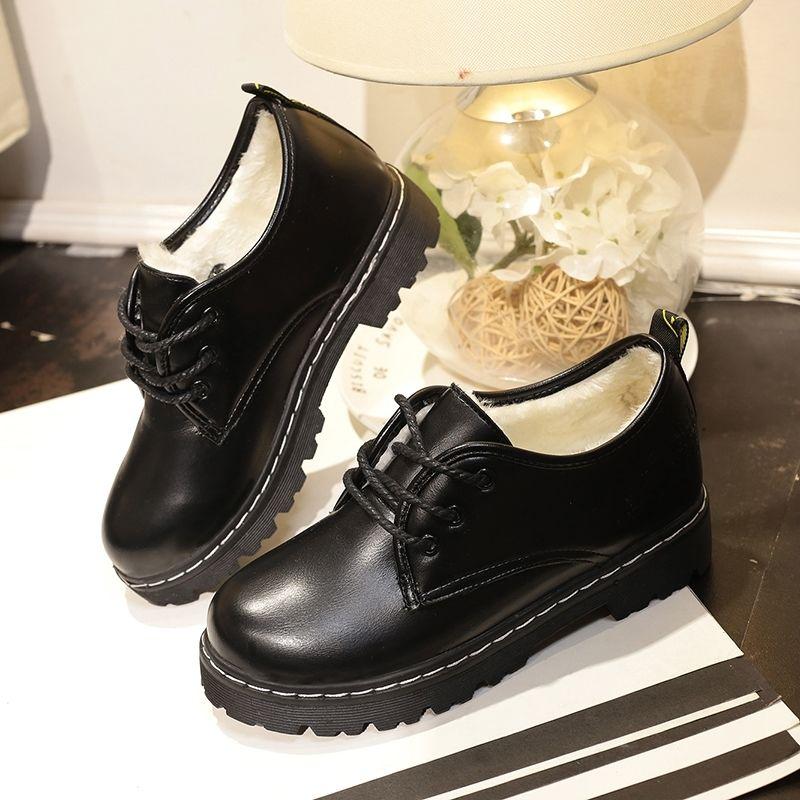 英伦松糕鞋 秋冬季加绒学生中跟单鞋休闲圆头小皮鞋女英伦风棉鞋厚底松糕女鞋_推荐淘宝好看的英伦松糕鞋