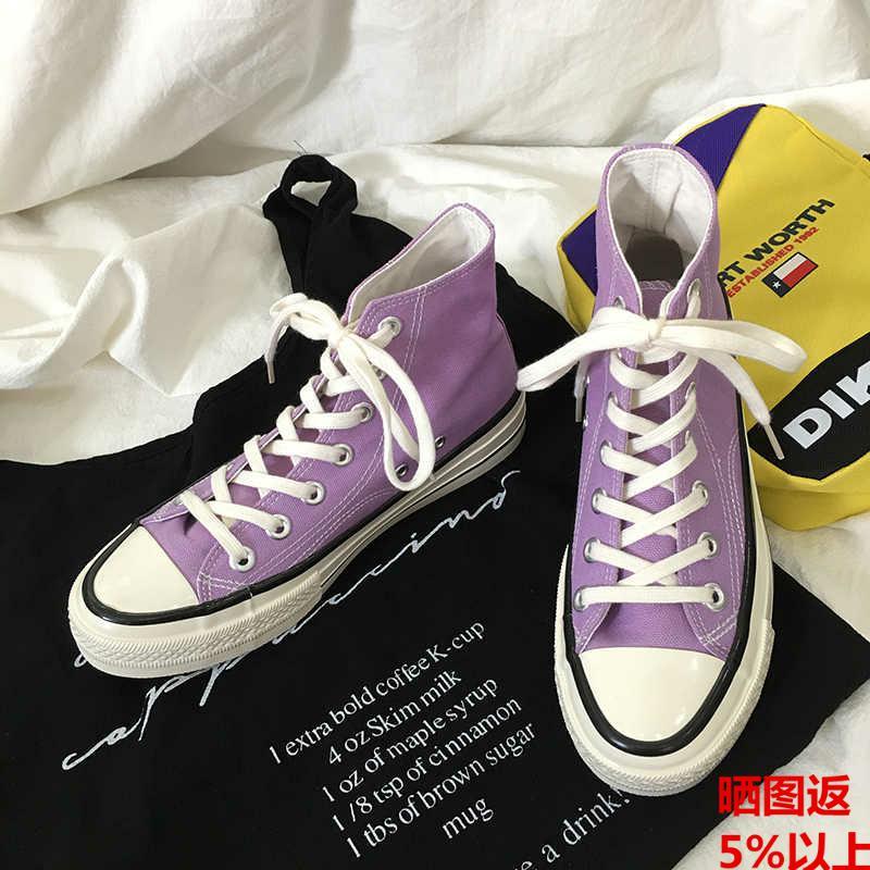 紫色平底鞋 回力1970浅紫色男女同款情侣百搭休闲款经典平底透气帆布鞋子_推荐淘宝好看的紫色平底鞋