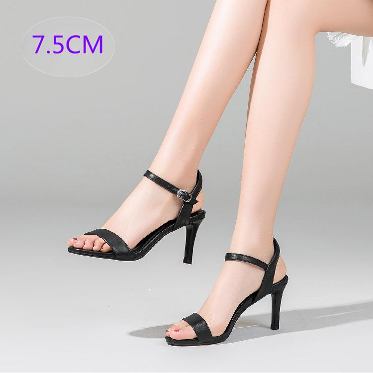 罗马鞋 性感高跟凉鞋女2020夏季新款简约百搭真皮后空一字扣带细跟罗马鞋_推荐淘宝好看的女罗马鞋