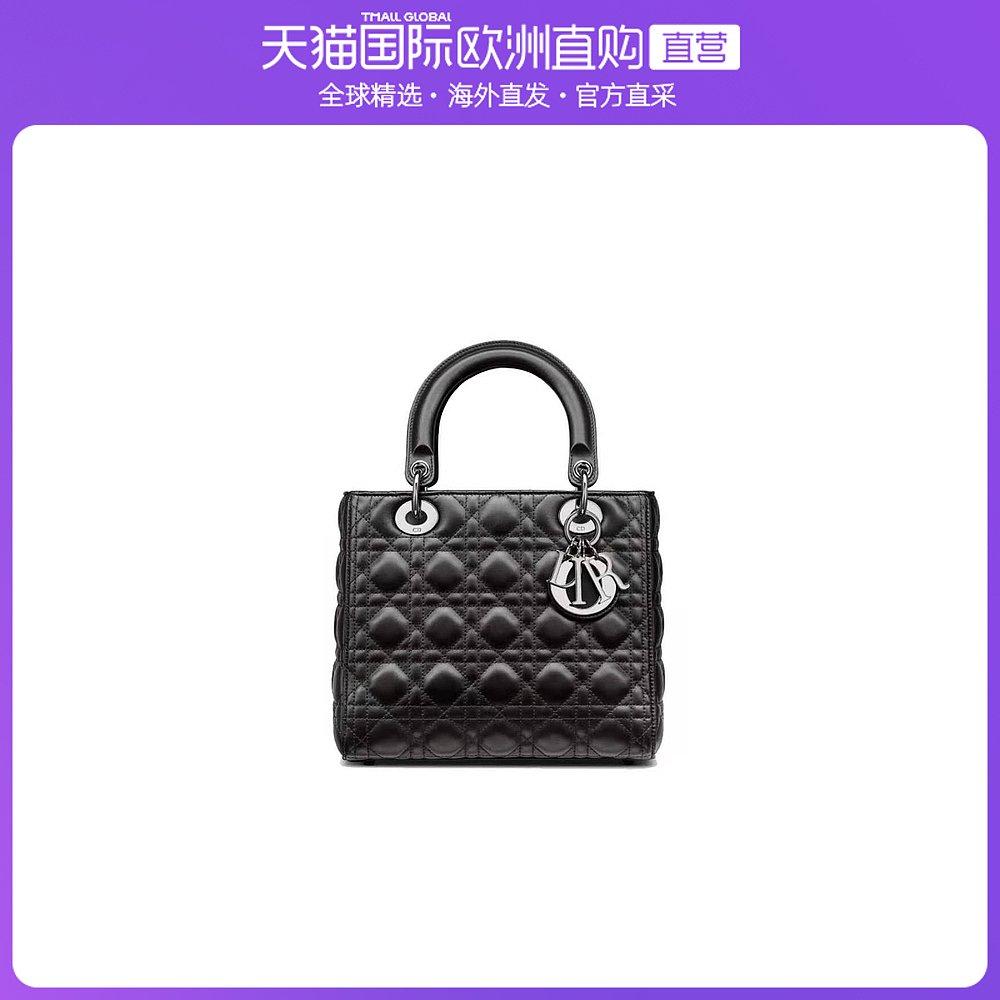 迪奥手提包 香港直邮DIOR黑色羊皮藤格纹手袋女款手提包_推荐淘宝好看的迪奥手提包