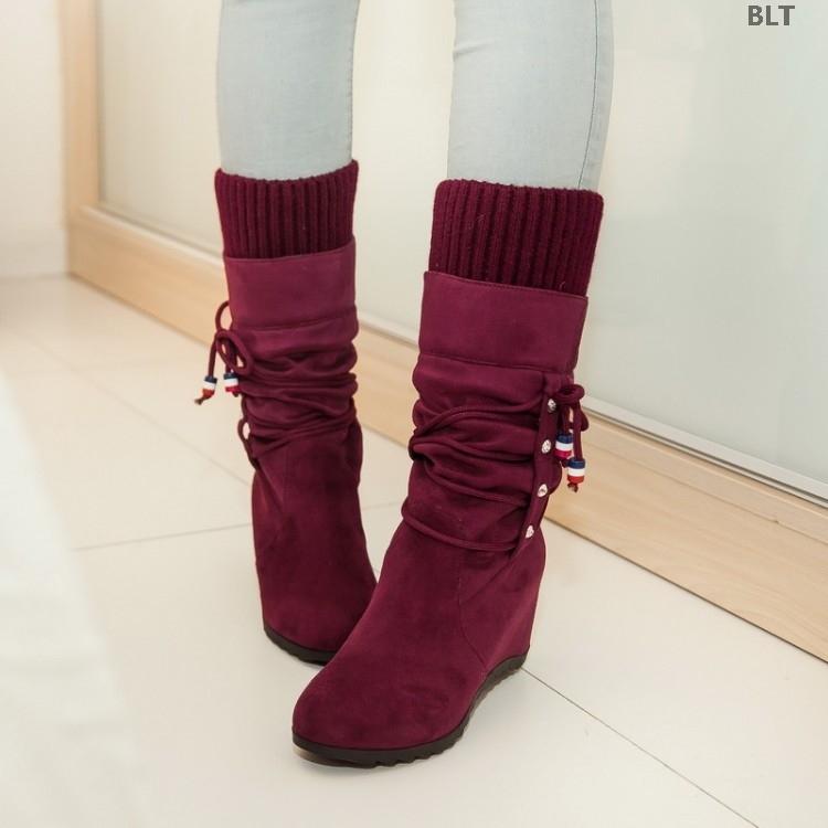 坡跟鞋 2019工装内中筒靴女冬季加绒套筒马丁靴春秋坡跟单靴大码女鞋_推荐淘宝好看的女坡跟鞋