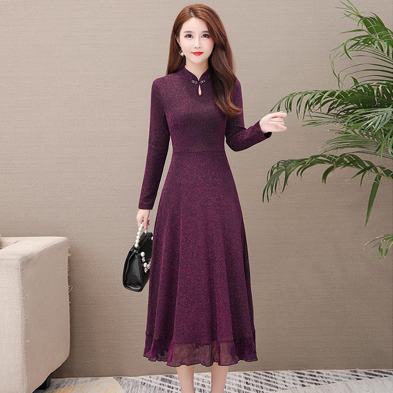 紫色连衣裙 早春女人味裙子减龄2020春季四十五岁女气质贵夫人连衣裙高端洋气_推荐淘宝好看的紫色连衣裙