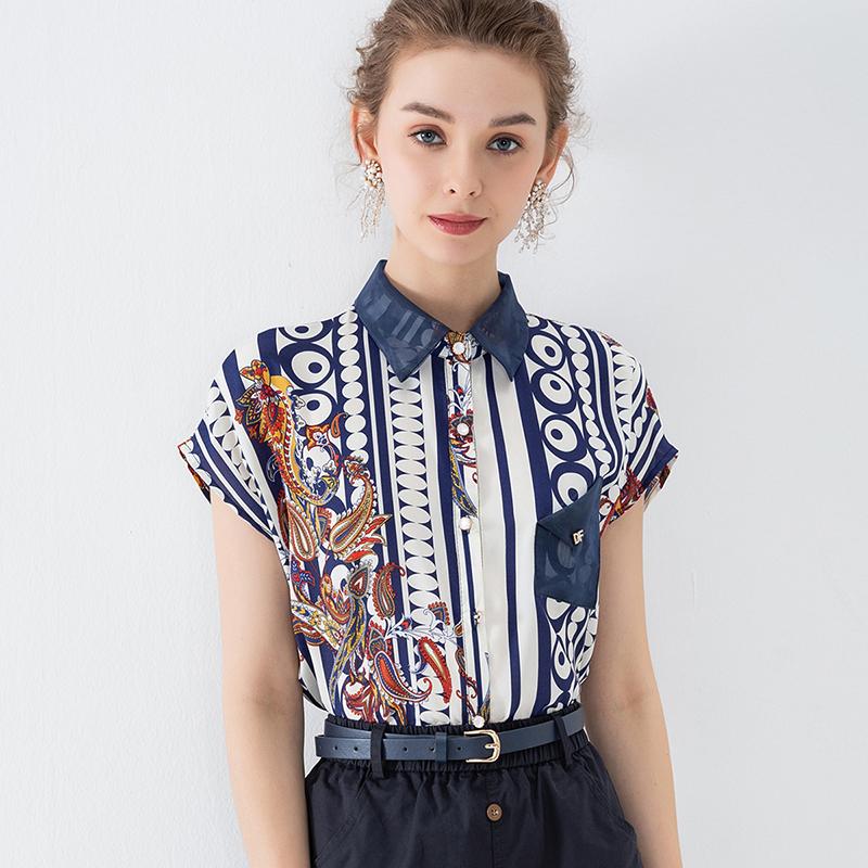 短袖衬衣 2020夏新款韩版时尚撞色领口袋装饰气质OL风印花宽松短袖衬衫女_推荐淘宝好看的女短袖衬衣