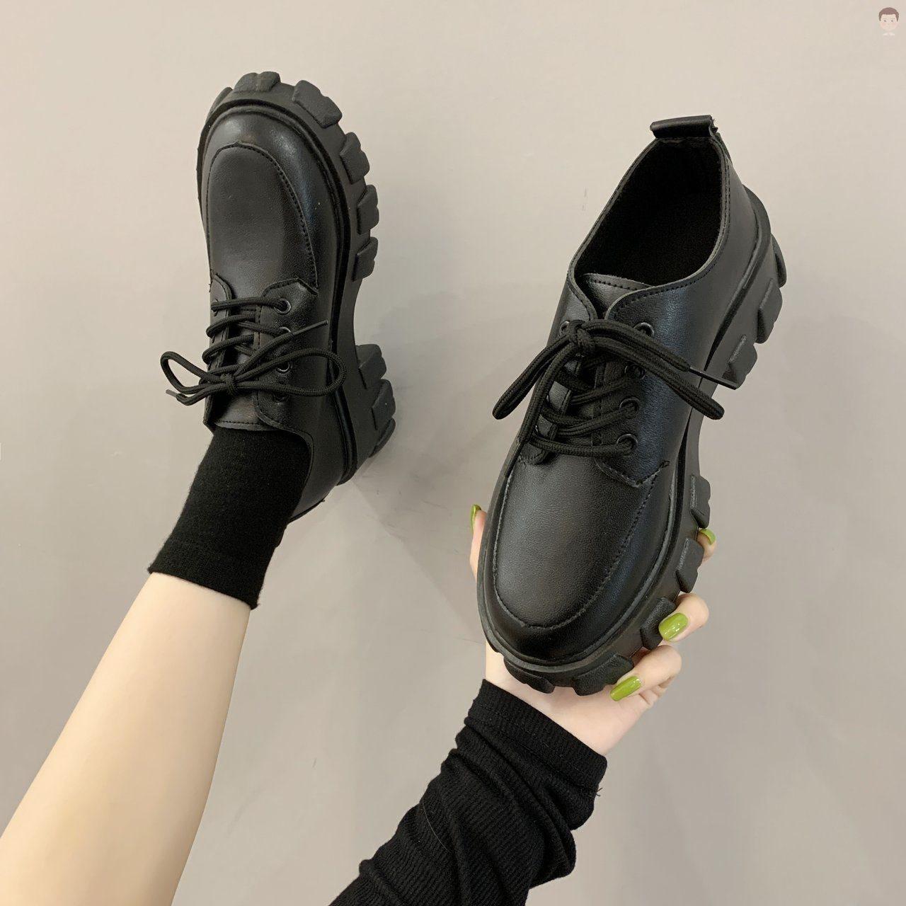 欧美松糕鞋 秋季松糕鞋女厚底欧美风鞋单鞋松糕鞋同款秋冬新款高跟单鞋大叔色_推荐淘宝好看的女欧美松糕鞋