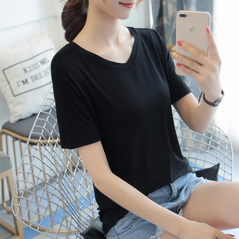 黑色T恤 莫代尔V领t恤女短袖夏季薄宽松大码女装纯色黑色体恤打底衫上衣_推荐淘宝好看的黑色T恤