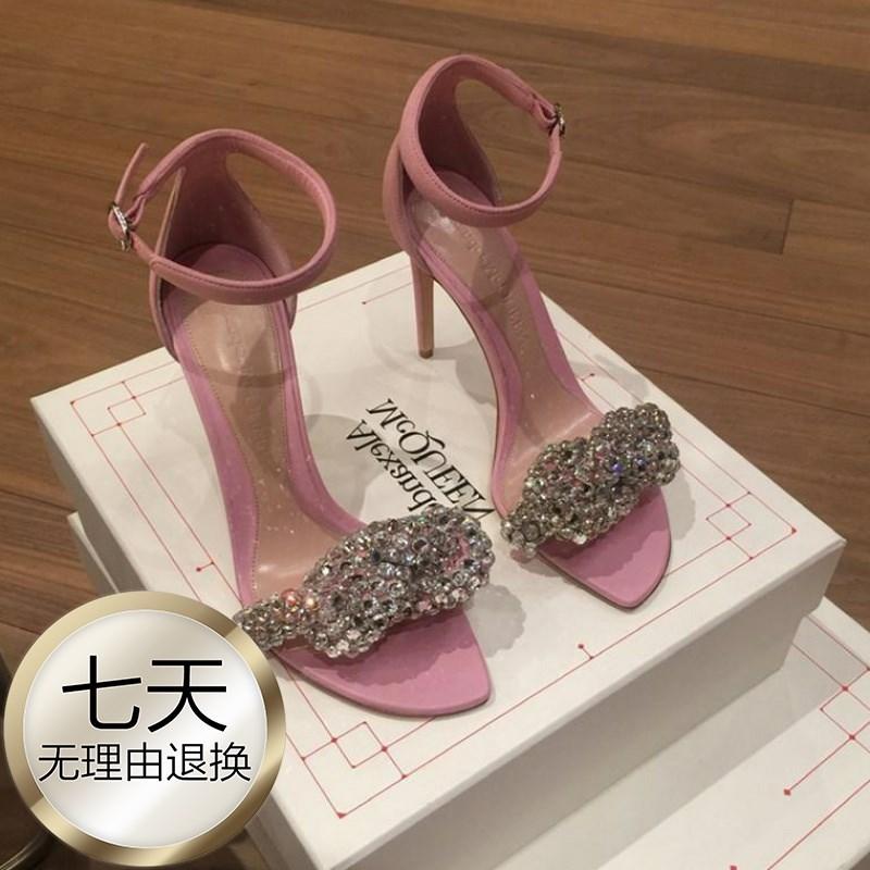 粉红色鱼嘴鞋 20新款晚晚风温柔高跟凉鞋女细跟粉红色mm玛丽珍性感水钻8cm露趾_推荐淘宝好看的粉红色鱼嘴鞋