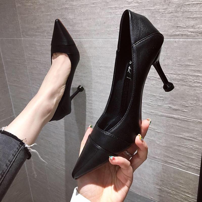 尖头鞋 工作鞋女黑色2020年秋新款百搭不磨脚职业细跟软皮正装高跟鞋尖头_推荐淘宝好看的女尖头鞋