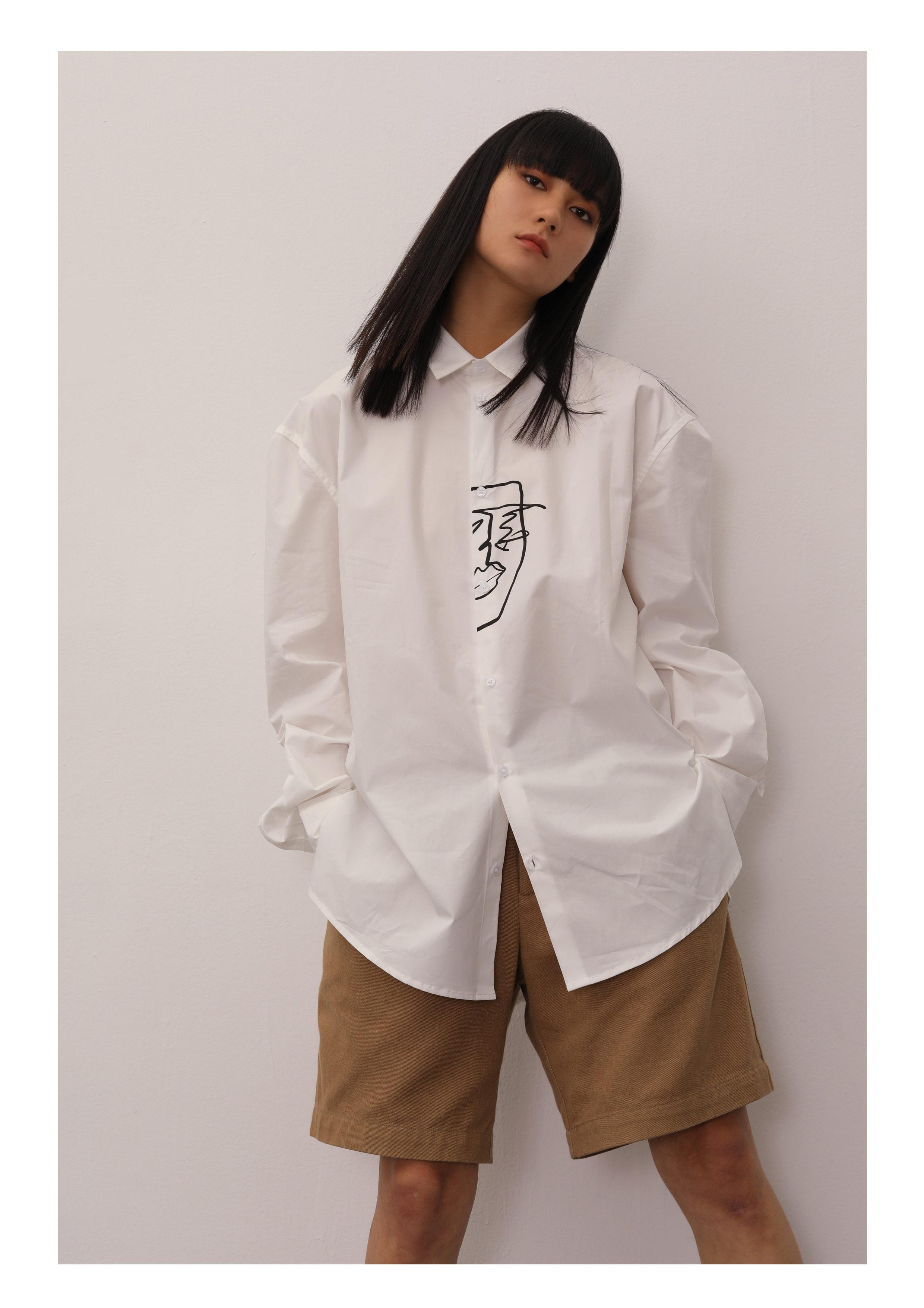 男装衬衫 whiteplanwhite  白色印花宽松休闲百搭长袖衬衫秋季男女同款_推荐淘宝好看的男衬衫