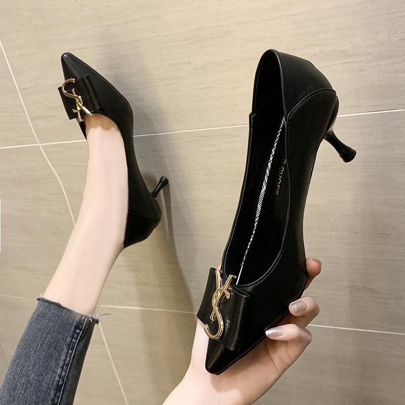 尖头高跟鞋 高跟鞋女细跟尖头2020新款百搭8cm春秋季职业单鞋韩版性感皮鞋潮_推荐淘宝好看的女尖头高跟鞋