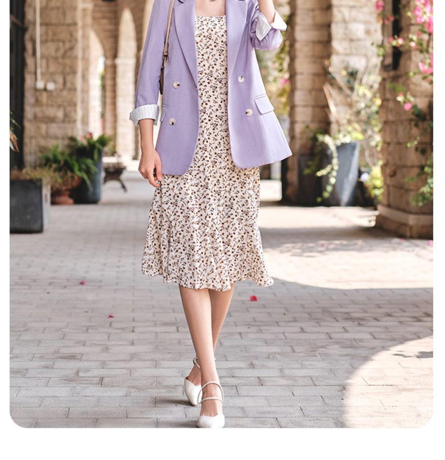 紫色小西装 紫色西装外套女夏季e薄款气质短款小个子内搭打底碎花吊带裙两件_推荐淘宝好看的紫色小西装