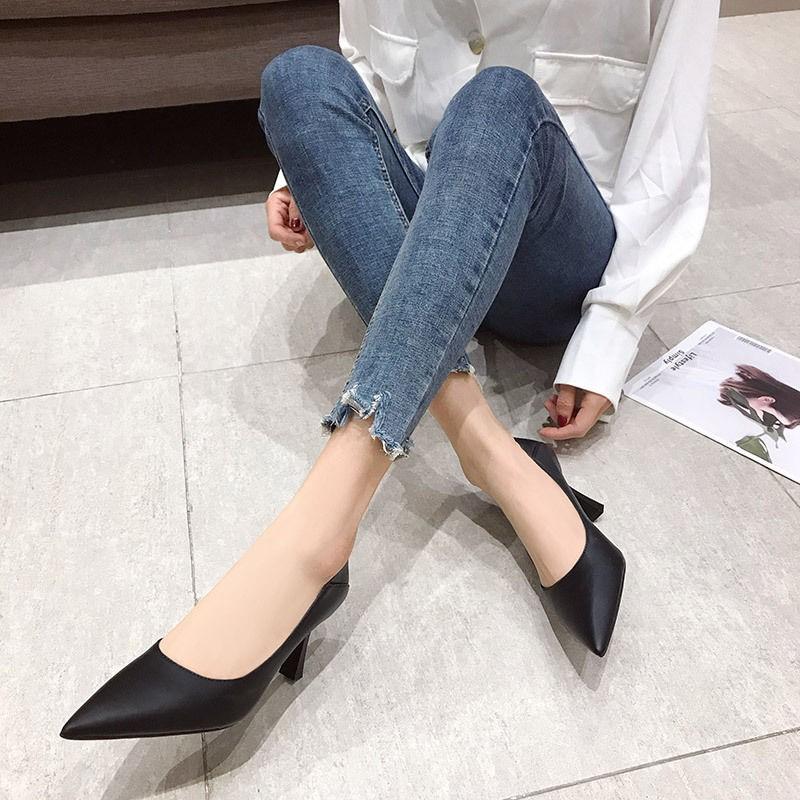 细高跟鞋 黑色高跟鞋女职业细跟中跟尖头单鞋舒适工作鞋软皮鞋小码33码20_推荐淘宝好看的女细高跟鞋