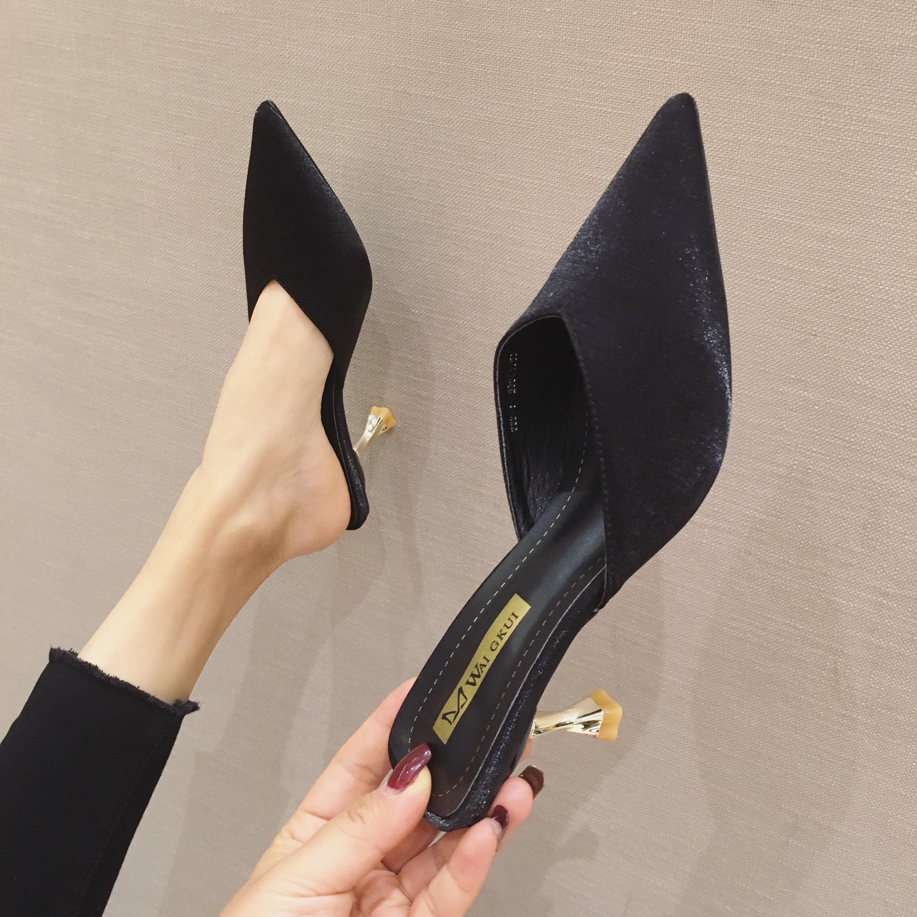 尖头鞋 包头半拖鞋女外穿女鞋2020新款韩版百搭试衣鞋尖头细跟高跟鞋凉拖_推荐淘宝好看的女尖头鞋
