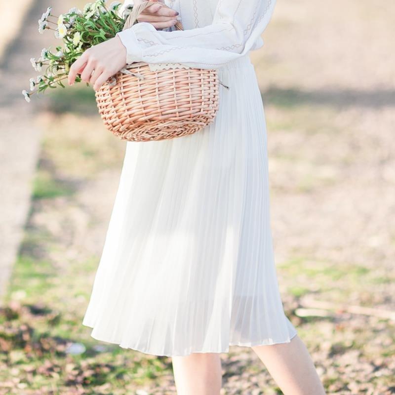 绿色雪纺半身裙 2018高腰墨绿色小清新学院风雪纺中长款学生百褶半身裙女新款显瘦_推荐淘宝好看的绿色雪纺半身裙
