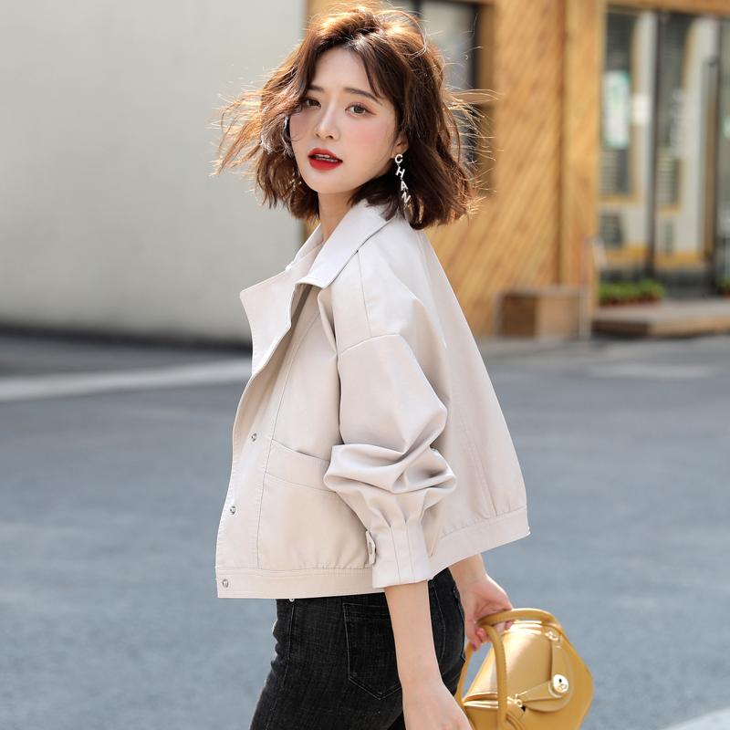 黄色皮衣 白色皮衣外套女短款2020年春季春秋百搭韩版宽松矮小个子小皮夹克_推荐淘宝好看的黄色皮衣