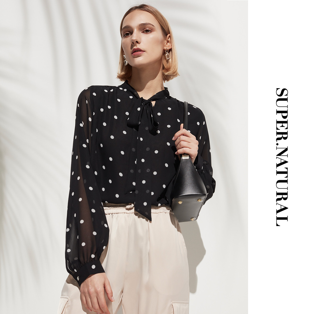 波点衬衫 super.naturalURBAN新品质感飘逸雪纺波点领口飘带长袖衬衫女_推荐淘宝好看的女波点衬衫