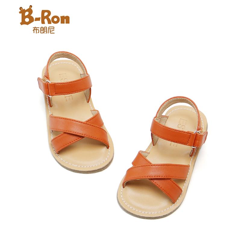 女童凉鞋 BRon布朗尼儿童凉鞋白色棕色休闲女童软底凉鞋沙滩鞋2020夏季新款_推荐淘宝好看的儿女童凉鞋