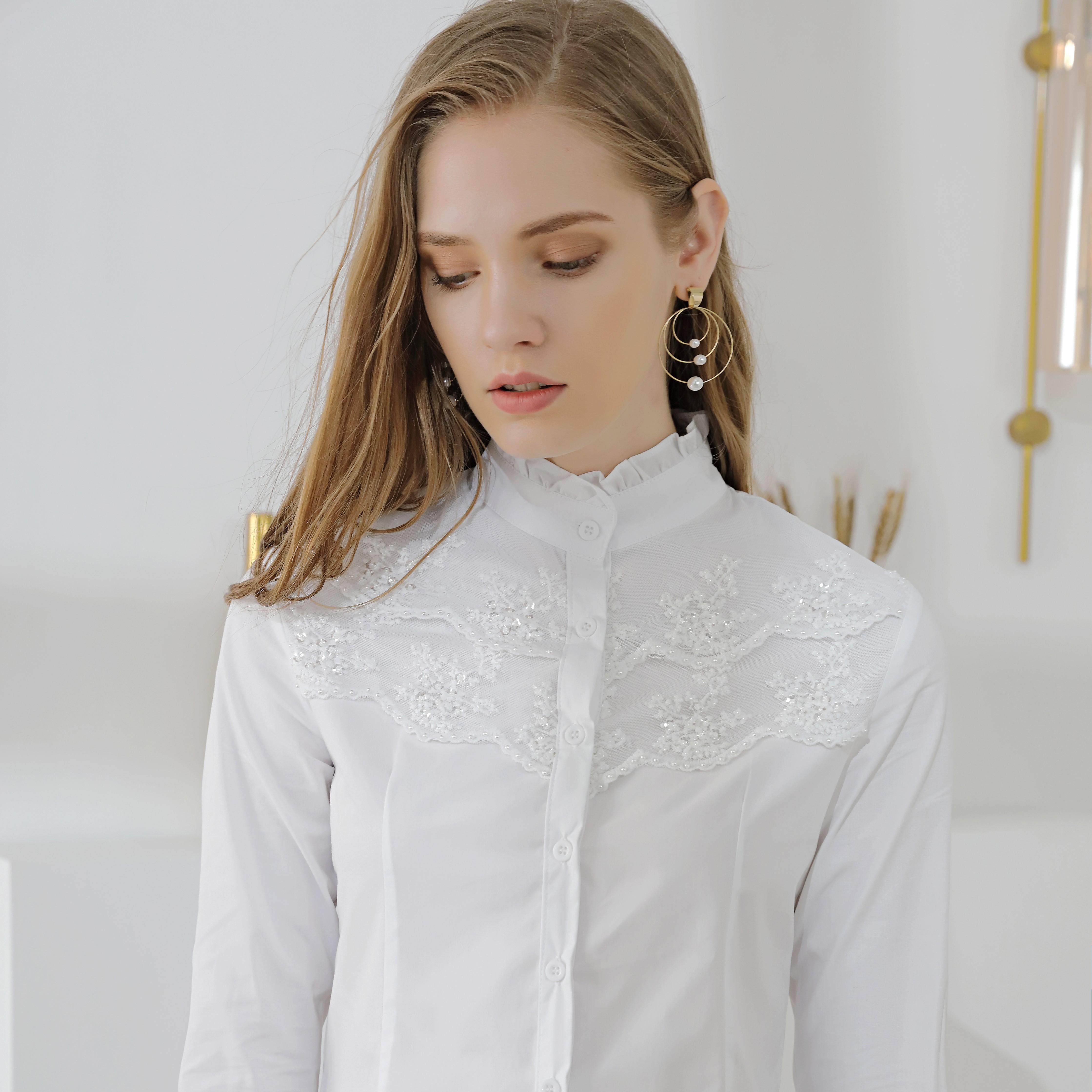 女装长袖衬衫 2020夏装新款复古荷叶领长袖钉珠蕾丝拼接白衬衫上衣女_推荐淘宝好看的女长袖衬衫
