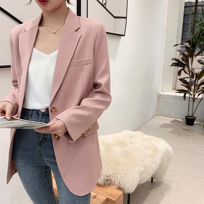 粉红色小西装 2021年春季新款韩版休闲chic小西装外套女气质显瘦粉红色网红西服_推荐淘宝好看的粉红色小西装
