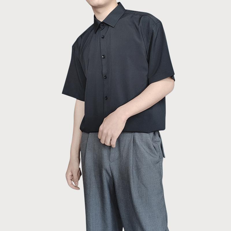 男装衬衫 雪纺冰丝免烫衬衫男宽松黑色短袖气质垂感休闲商务纯色上衣丝滑_推荐淘宝好看的男衬衫