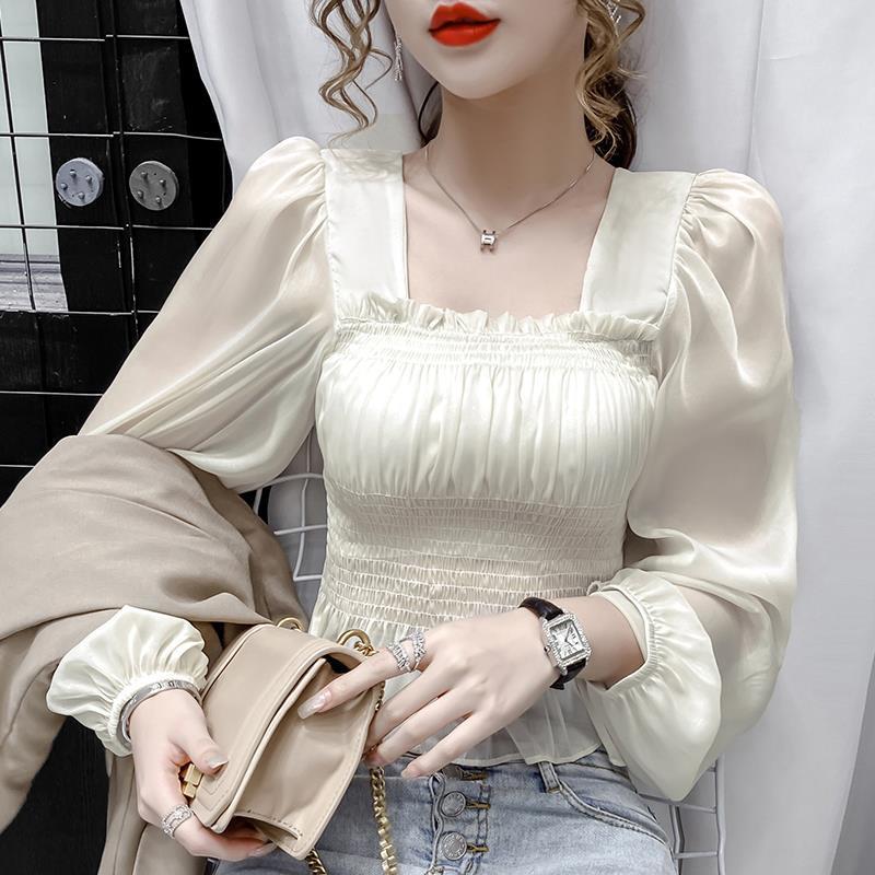 蕾丝雪纺衫 2020秋装新款设计感短款泡泡袖雪纺衫薄款白色衬衫女长袖_推荐淘宝好看的蕾丝雪纺衫