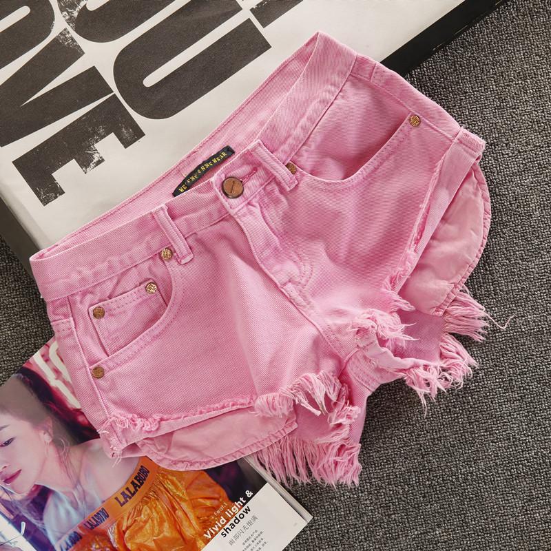 粉红色牛仔裤 欧美提臀性感牛仔短裤女夏粉红色时尚超短破洞2020春显瘦显高热裤_推荐淘宝好看的粉红色牛仔裤