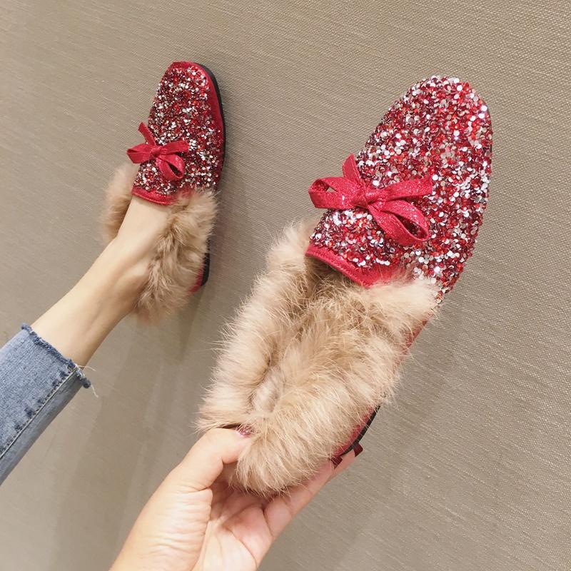 红色平底鞋 毛毛鞋女冬2020秋冬新款婚鞋亮片红色平底鞋豆豆鞋加绒棉鞋大码鞋_推荐淘宝好看的红色平底鞋