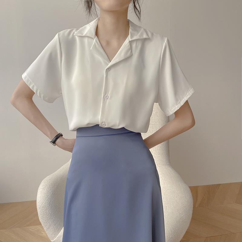 女士白色短袖衬衫 白色短袖衬衫女夏季薄款2021新款复古韩版职业西装领长袖纯色上衣_推荐淘宝好看的女白色短袖衬衫