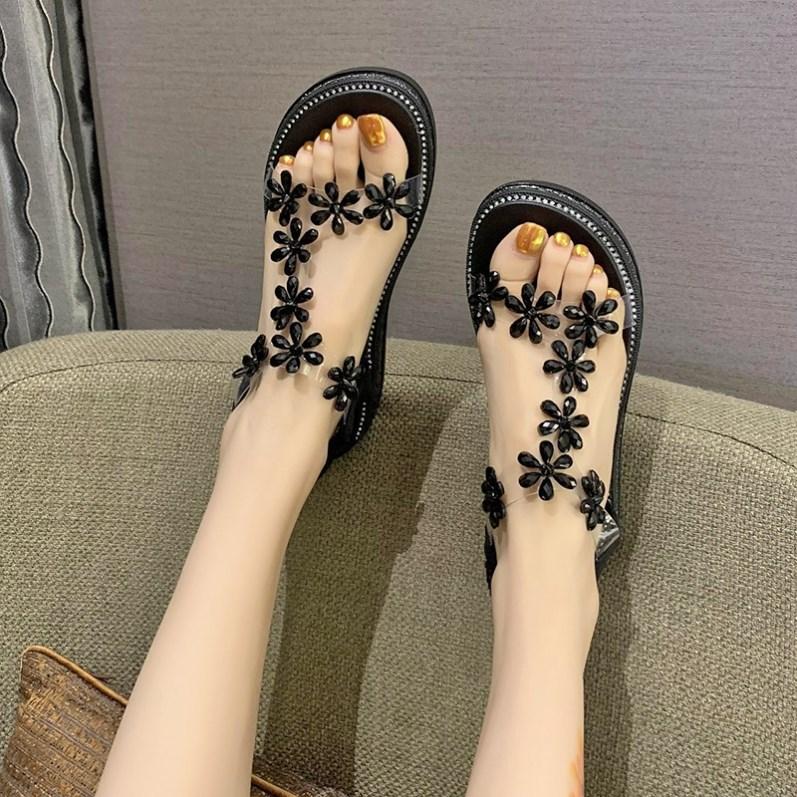 罗马坡跟鞋 凉鞋女夏2021年新款百搭仙女风坡跟一字罗马高跟鞋ins潮厚底松糕_推荐淘宝好看的罗马坡跟鞋