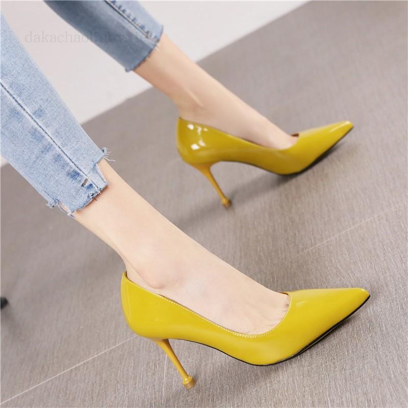 黄色单鞋 英伦风2020春季新款黄色漆皮尖头细跟高跟鞋职业女鞋百搭四季单鞋_推荐淘宝好看的黄色单鞋