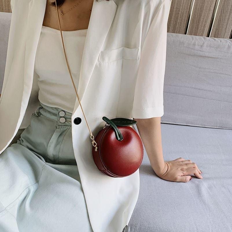 绿色迷你包 小圆包包新款潮迷你可爱单肩包时尚绿色小苹果链条斜跨包零钱包包_推荐淘宝好看的绿色迷你包