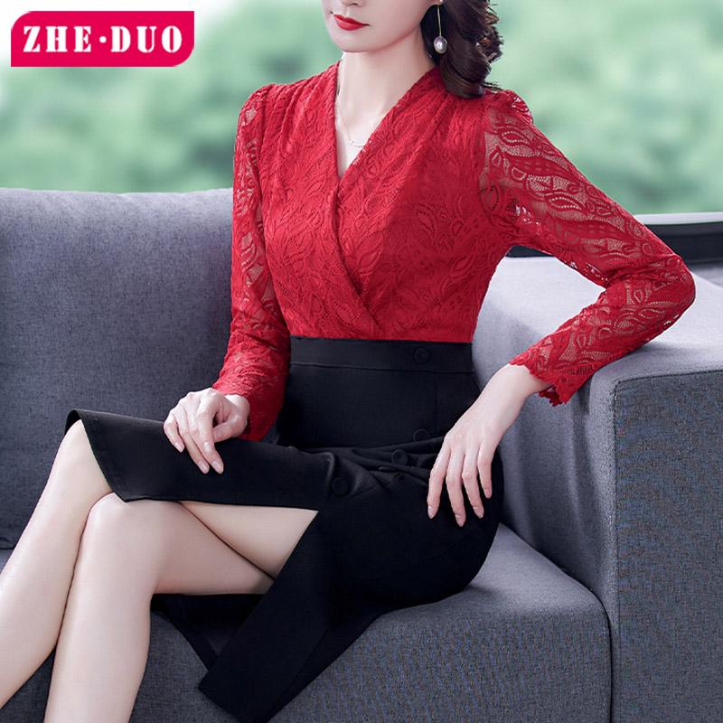红色蕾丝连衣裙 本命年红色女装时尚轻熟风连衣裙蕾丝拼接2021年春款修身显瘦裙子_推荐淘宝好看的红色蕾丝连衣裙