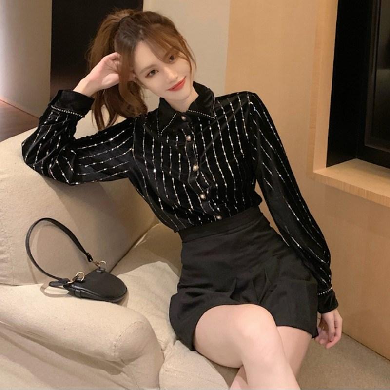 长袖衬衣 2021春款复古洋气设计感小众长袖衬衫内搭打底衫女感黑色上衣_推荐淘宝好看的女长袖衬衣