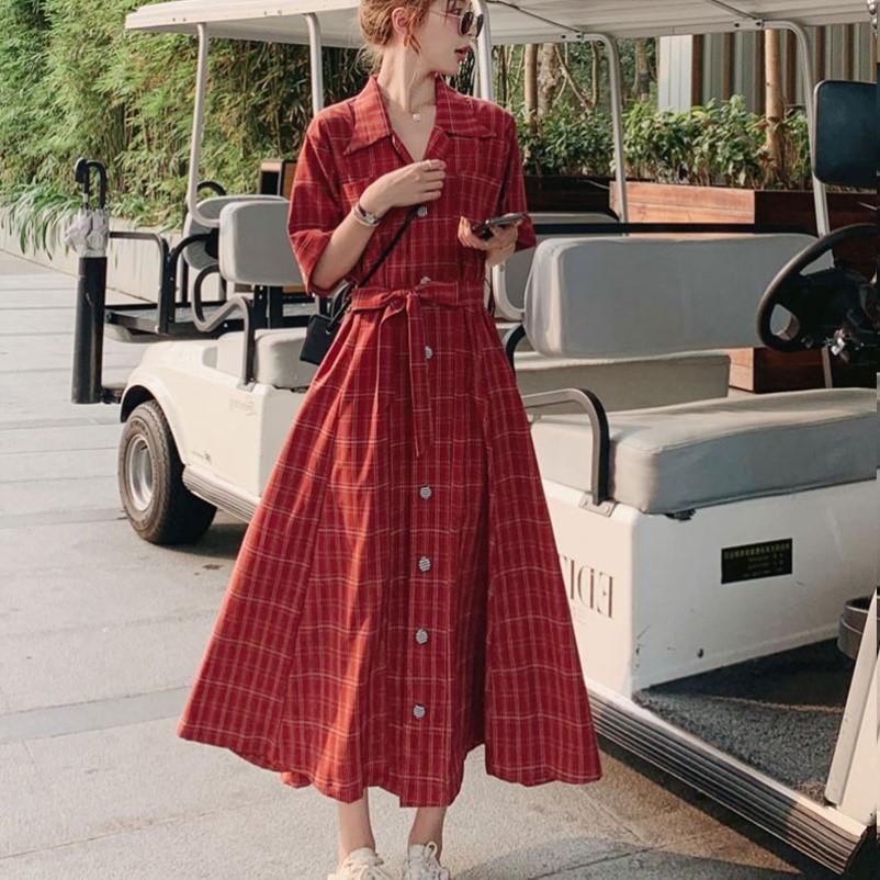 红色格子衬衫 大码女装2021年新款夏季红色格子衬衫长裙胖mm连衣裙高端洋气遮肚_推荐淘宝好看的女红色格子衬衫