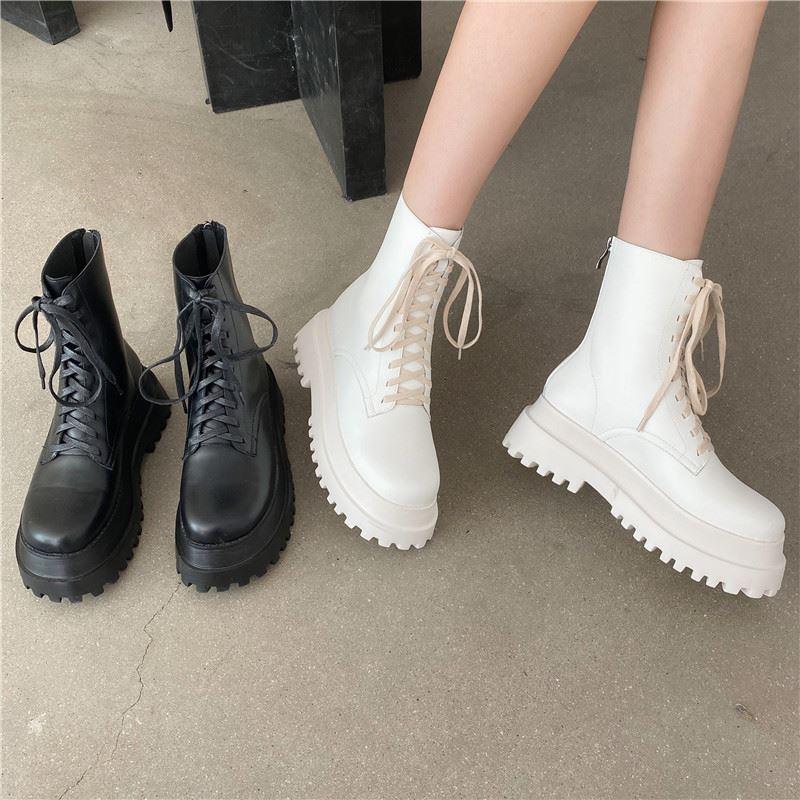 厚底流苏靴 2020秋季短靴女系带拉链平底厚底粗跟中跟靴子女时装靴流苏靴平跟_推荐淘宝好看的厚底流苏靴