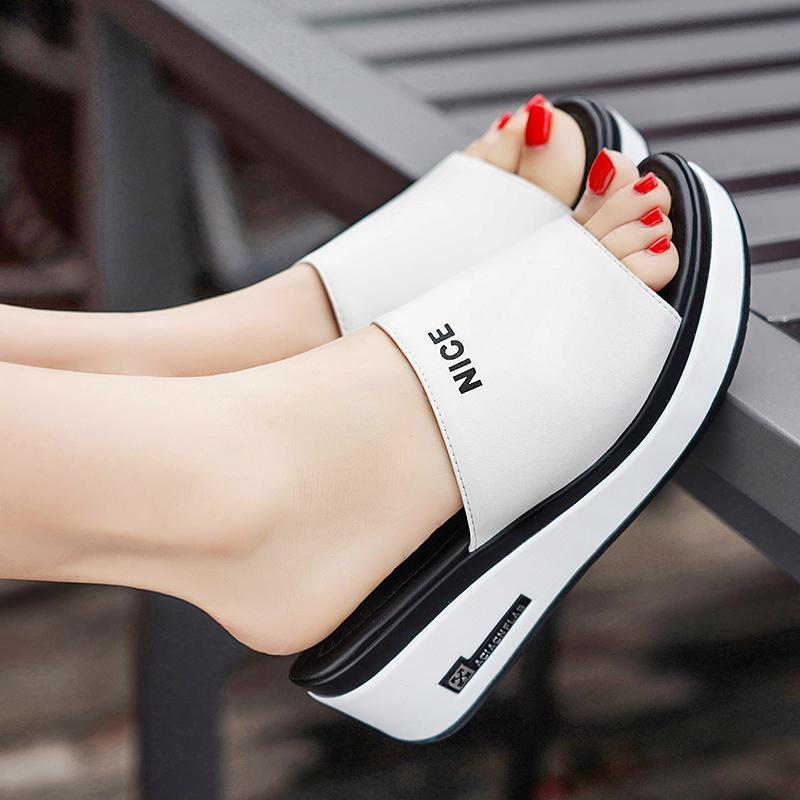 达芙妮坡跟鞋 优足达芙妮坡跟凉拖鞋女外穿2021夏新款真皮休闲厚底高跟一字拖鞋_推荐淘宝好看的达芙妮坡跟鞋
