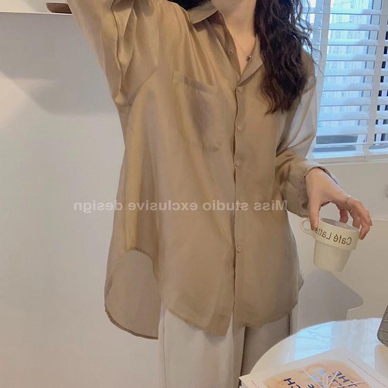 雪纺长袖衬衫 2021夏季新款设计感小众长袖白色衬衫女微透防晒开衫薄款雪纺上衣_推荐淘宝好看的女雪纺长袖衬衫