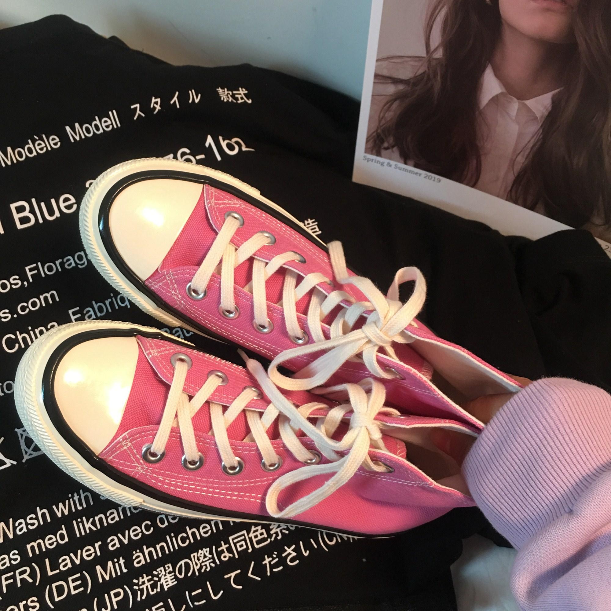 粉红色帆布鞋 江江欧巴2020新款1970s粉红色帆布鞋女复古港味韩版百搭ulzzang鞋_推荐淘宝好看的粉红色帆布鞋