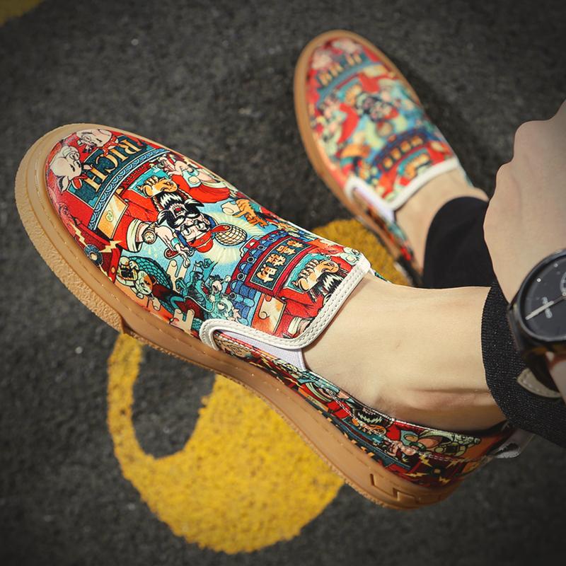 涂鸦豆豆鞋 帆布鞋男秋季透气一脚蹬懒人豆豆鞋2021新品国潮涂鸦百搭乐福板鞋_推荐淘宝好看的涂鸦豆豆鞋