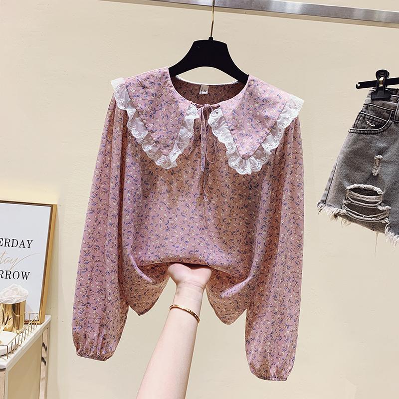 粉红色雪纺衫 法式娃娃领印花粉红色雪纺衬衫女2021早春新款设计感小众碎花上衣_推荐淘宝好看的粉红色雪纺衫