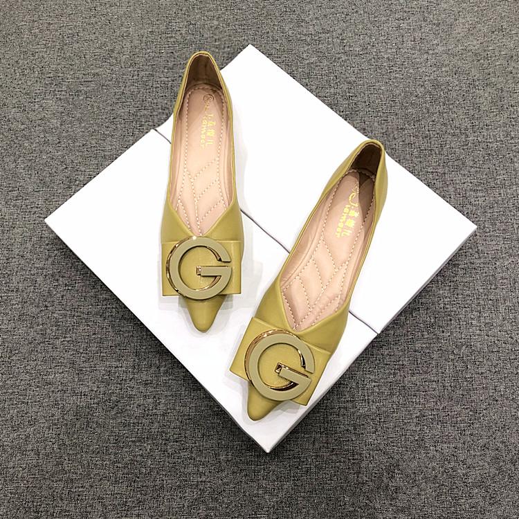 绿色豆豆鞋 2021夏季新款平底女鞋百搭绿色平跟尖头舒适软皮软底单鞋女豆豆鞋_推荐淘宝好看的绿色豆豆鞋