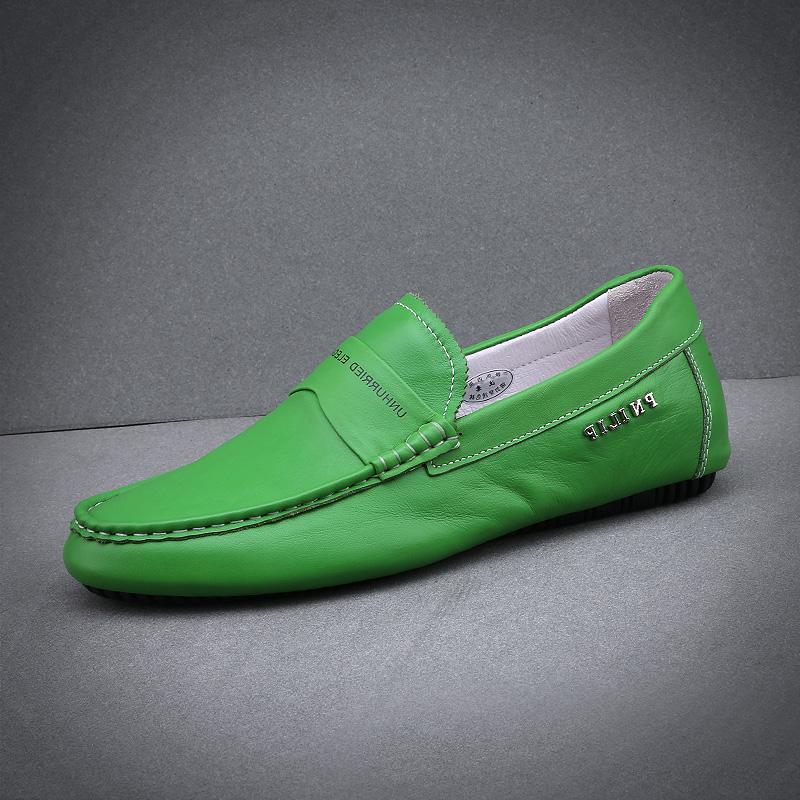 绿色豆豆鞋 男鞋春夏季潮鞋21新款真皮一脚瞪豆豆鞋青年绿色个性驾车乐福皮鞋_推荐淘宝好看的绿色豆豆鞋