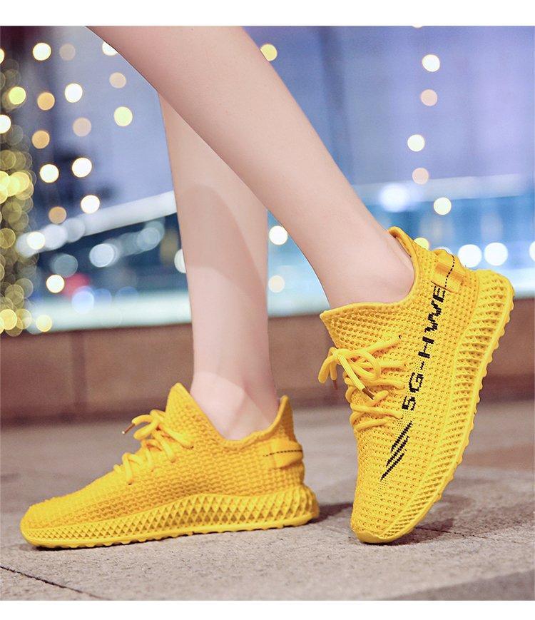 黄色单鞋 2019春夏新款飞织单鞋女平底软底防滑黄色运动鞋休闲鞋健身跑步鞋_推荐淘宝好看的黄色单鞋
