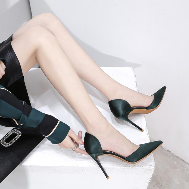 绿色尖头鞋 2020夏季新款百搭性感中空真丝绸缎绿色高跟鞋女细跟尖头裸色单鞋_推荐淘宝好看的绿色尖头鞋