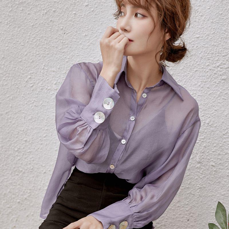 紫色雪纺衫 雪纺衫女2021春秋新款紫色长袖清凉韩版中长款衬衫女防晒港风上衣_推荐淘宝好看的紫色雪纺衫