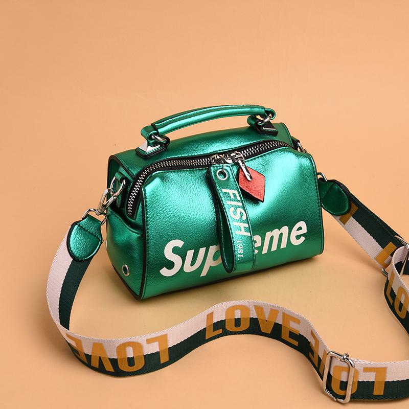 欧美时尚手提包 2019欧美新款休闲手提包横款桶形包软皮多用单肩包撞色斜跨包包女_推荐淘宝好看的女欧美手提包