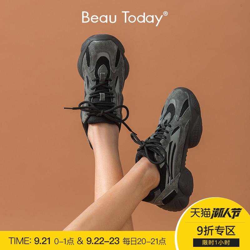 黑色松糕鞋 BeauToday2020秋季新款黑色老爹鞋女鞋ins潮显脚小厚底松糕运动鞋_推荐淘宝好看的黑色松糕鞋