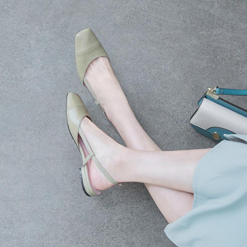 绿色平底鞋 法式包头凉鞋女2020新款一字扣平底仙女温柔风晚晚鞋绿色后空单鞋_推荐淘宝好看的绿色平底鞋