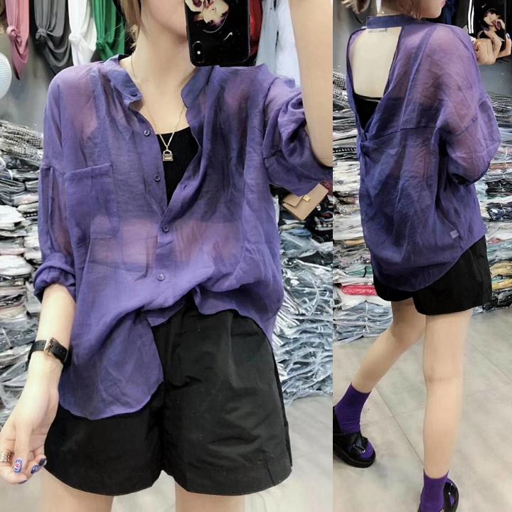 紫色雪纺衫 欧货2021夏季新款潮薄个性宽松雪纺衬衫女紫色防晒上衣短款外搭_推荐淘宝好看的紫色雪纺衫