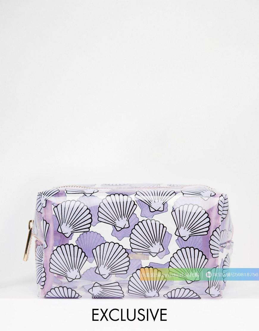 紫色贝壳包 现货 正品SKINNYDIP淡紫色贝壳贝母美人鱼海洋风透明化妆包洗漱包_推荐淘宝好看的紫色贝壳包